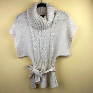 BEBE Off-White Turtleneck Poncho Style Sweater XS